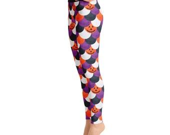 Halloween Leggings Women - Jack O Lantern Pattern, Purple and Orange Scale Leggings, Spooky Printed Yoga Pants