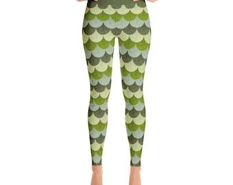 Fun Leggings for Adults - Green Dragon Scales Leggings, Stretchy Yoga Pants
