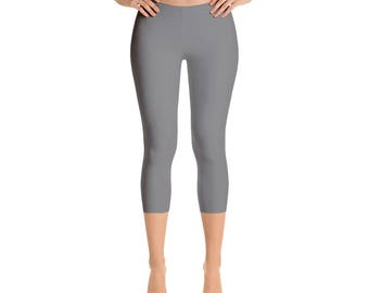 Capris - Gray Leggings, Mid Rise Waist Yoga Pants, Workout Clothes for Women