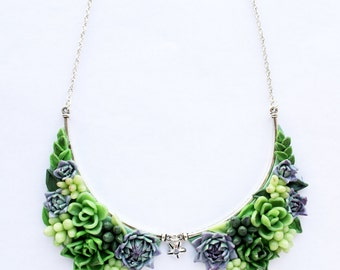 Green Collar necklace, Succulent necklace, Flower Necklace Cacti Cactus Floral Bib Necklace Succulent Jewelry Polymer clay crescent necklace