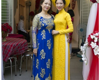Blue tunic dress, ao dai, kimono, hanbok, cheongsam, qipao. Includes satin pants.