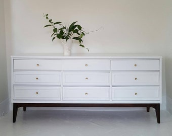 Sold#Mid Century dresser credenza, 9 drawer dresser,  vintage dresser,  white and gold