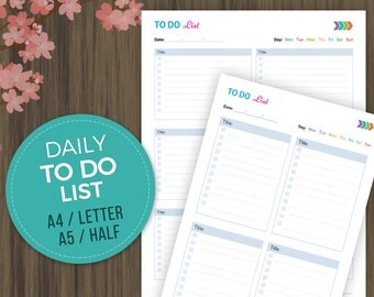 To Do List Printable, Todo Planner, To Do List Notebook, Daily Checklist, Daily ToDo, A4, A5, Half Size and Letter Size