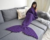 Adult Mermaid Tail Blanket x PLAYFUL PURPLE x Crocheted Mermaid Tail Blanket
