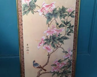 Vintage Chinoiserie Cherry Blossom & Bird Print