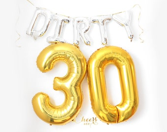 """40"""" BIG 30 Gold Silver Foil Number Balloon - birthday balloon - 30 balloon - 30th birthday - number balloon - party balloon - cheersnco"""