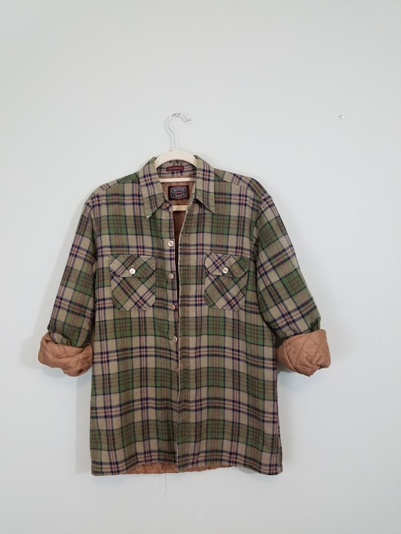 Vintage Lined Flannel Shirt / 1980s Lightweight Jacket / Men's Green and Tan Button Down / Modern Size Medium M to Large L