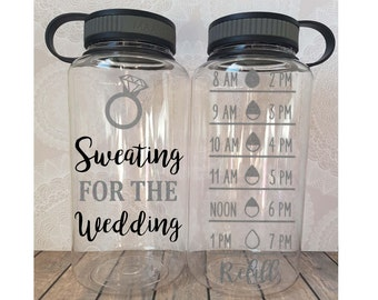 Sweating For The Wedding, Bride Water Bottle, Gift for Bride, Bride Tumbler, Funny Engagement, Engagement Gift, Engagement Water Bottle,
