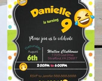 Emoji Birthday Invitations, Printed or Digital File ***FREE SHIPPING