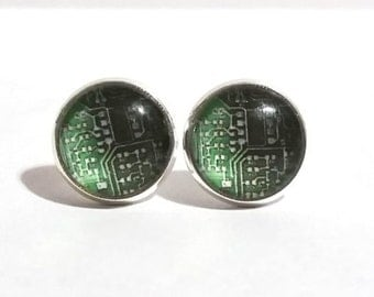 Circuit Board Earrings, Silver Stud