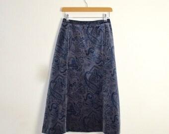 English Paisley Print Skirt  |  Velveteen Ladies Skirt | Vintage Paisley Skirt | Midi Length Skirt | Vintage A-Line Skirt