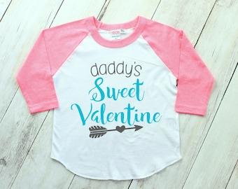 Kids Valentine Shirt - Valentines Day Shirt - Valentine Raglan - Daddy's Valentine - Love Shirt - Toddler Valentines Shirt - Baby Valentine