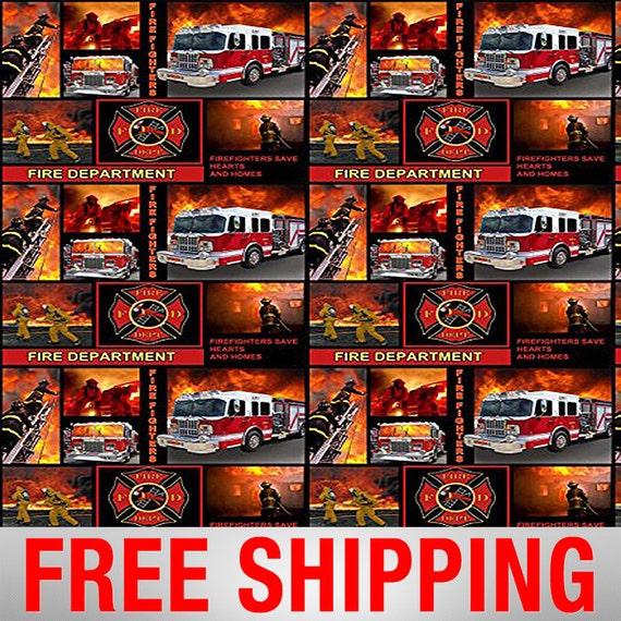 Fleece Fabric Fireman Firemen Firefighter Anti Pill Realistic