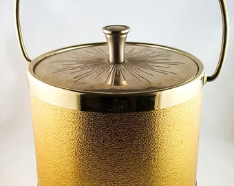 Vintage Gold Ice Bucket, 1960s Ice Bucket, Kitschy Ice Bucket, Hollywood Regency, Retro Barware