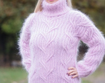 Pink Mohair Sweater, Mohair Turtleneck Top, Chunky Pullover, Thick Ribbed Jumper, Cable Knit Sweater, Hand Knitted by TanglesCreations
