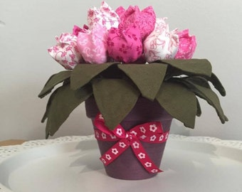Lovely Handmade Fabric Tulips in Hand Decorated Flower Pot
