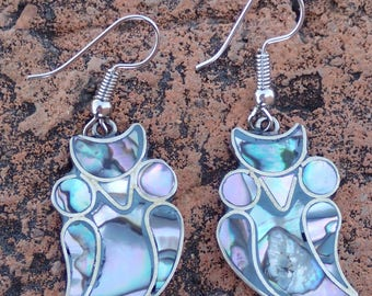 Abalone Owl Dangle Earrings