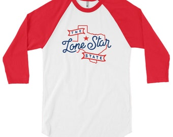 Texas Lone Star State Nickname 3/4 Sleeve Raglan