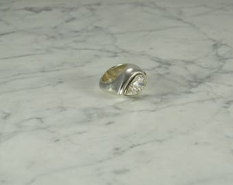 Sterling Silver With Gigantic CZ (size 5.5)