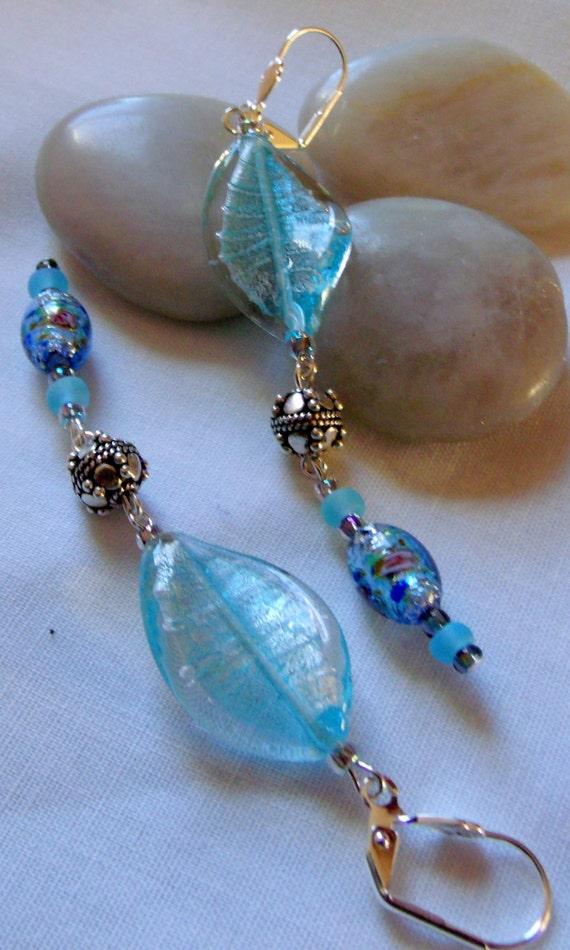 Lampwork twist leaf glass earrings, long foil beads, princess -fairy tale , romantic look, ice blue glass, mothers day gift, lizporiginals
