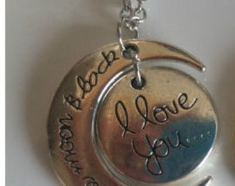 I love you to the moon and back pendant and chain + free gift bag