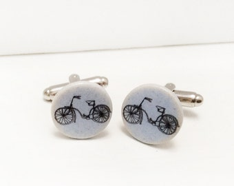 Ceramic Bike Cufflinks, Bike Cufflinks, Cycling Gifts, Handmade Ceramic Cufflinks.