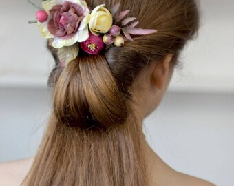 Flower comb ivory purple floral head piece woodland hair back bridal flowers hair Wedding comb flower berries head bridesmaid floral comb