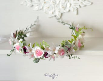 Woodland wedding crown flower White purple head wreath woodland Bridal halo rustic wedding Forest head piece flowers crown Bride hair
