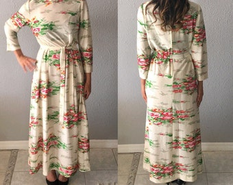 1970's Floral Psychedelic Print Vintage Boho Maxi Dress