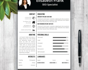 Creative Resume Template, Cover Letter Word, Curriculum Vitae, Professional Resume Template Design, Resume Template Instant Download