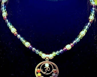 Silver tone Chakra necklace with silver tone and glass beading