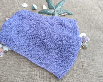 Handmade Hand Knit Purple, Lavender, Hand Beaded Lightweight Acrylic Infinity Scarf