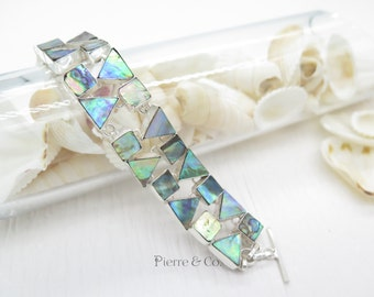 Mother of Pearl Shell Sterling Silver Bracelet