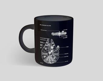 Star Wars Millennium falcon Mug, Star Wars Gift, Starwars Print, Star Wars Coffee Mug, Star Wars Tea 98