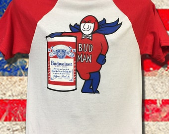 70's Bud Man Budweiser Old School Logo NOS one of a Kind very Rare Red Baseball 3 quarter length sleeves 50/50 blend i. Super soft and thin.