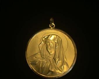 18K gold Virgin Mary medallion pendant