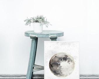 Moon art print - Watercolor moon wall art - Printable moon art - modern wall art - Gallery wall ideas - Lunar art print - Lunar poster