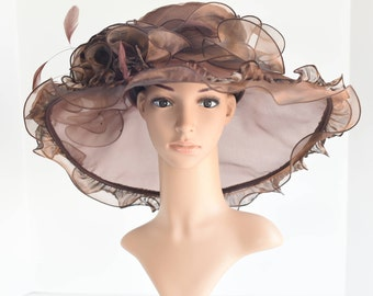 """New Kentucky Derby, Church, Wedding, Tea Party with Jumbo Ascot & Feather 5~6"""" Wide Brim Organza Hat ( Brown)"""