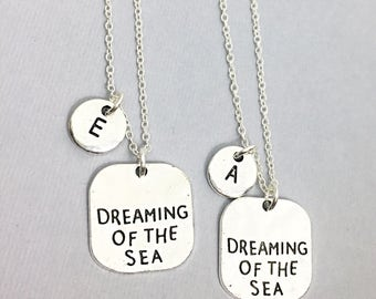 Silver Best friend Necklace for 2, Dreaming Of The Sea Charm Necklace, Initial  Charm, Bff Necklace, Beach Friendship Jewelry, Gift Friend