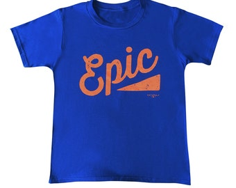 Epic T-shirt for boys and girls, cotton, blue orange, designed and printed in London, buzz words, bright colours, retro graphics for cool ki