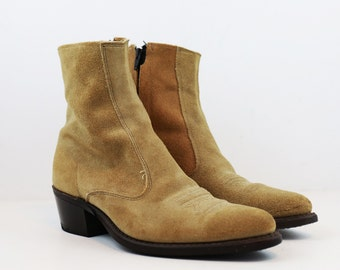 Vintage Suede Leather Western Style Chelsea Ankle Boots size 7 US Mens or 9 US Womens