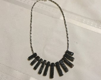 Necklace, 18-20 inch black and silver necklace