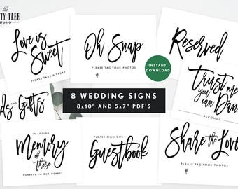 Printable Wedding Signs , Modern Wedding Signs Bundle , Instant Download Wedding Signs , Guestbook , Love is Sweet , In Memory Sign