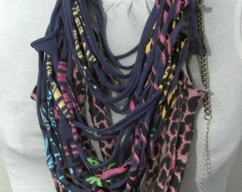 ANIMAL POP Necklace, handmade recycled fabric scarflace in purple, pink and black