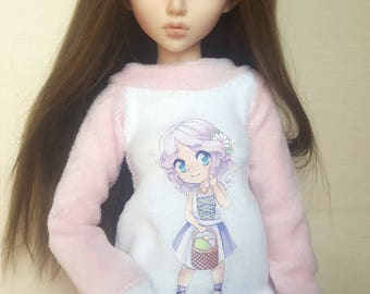 BJD cute sweater with cute chibi print, for MSD 1/4 sized dolls