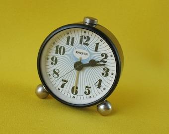"Vintage Russian Mechanical ALARM CLOCK ""Raketa"" Desk Clock Made in USSR Soviet mechanical watch Desktop Clock"