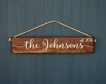 Wedding Gift - Last Name Sign - Bridal Shower Gift - Rustic - Custom Personalized - Gift for Couple - Gift for Bride - Anniversary Gift