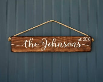 Wedding Gift - Last Name Sign - Bridal Shower Gift - Rustic - Custom Personalized - Gift for Couple - Gift for Bride - Wedding Photo Prop