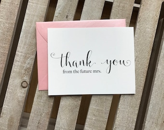 Thank You From The Future Mrs. Card, Bridal Shower Thank You Card, Bridal Shower Cards, Bridal Shower Thank You, Future Mrs Gift & Thank You