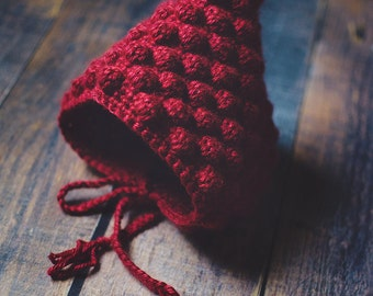 Baby Pixie Bonnet | RED | The Jovie Pixie Bonnet | Pixie Hat | Baby Bonnet | Baby Hat | Baby Photography Prop